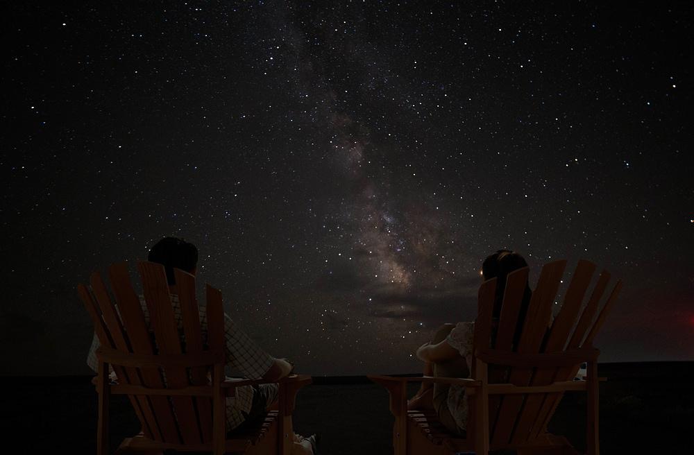 Couple enjoying a beautiful night sky